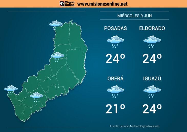 El tiempo en Misiones: miércoles inestable en la provincia con temperaturas frescas por la mañana