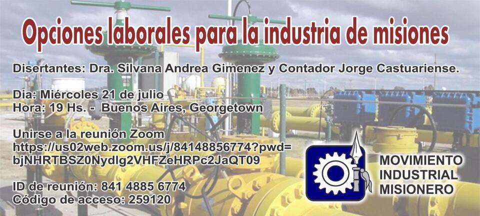 El Movimiento Industrial Misionero organiza una charla virtual sobre opciones laborales para la Industria de Misiones