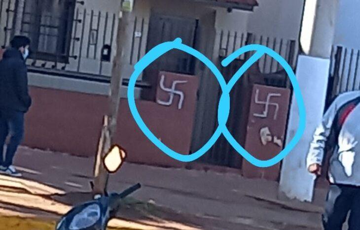 Eldorado: aparecieron esvásticas nazis pintadas en las paredes de bancos y de una empresa