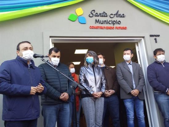 Herrera Ahuad en Santa Ana: inauguró el Centro Cívico, presentó el proyecto del nuevo edificio municipal y anunció la construcción de un hospital Nivel 1