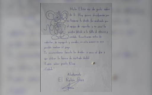 """La respuesta del Ratón Pérez a una nena que le dejó un diente de leche: """"No se realizaría el pago"""""""