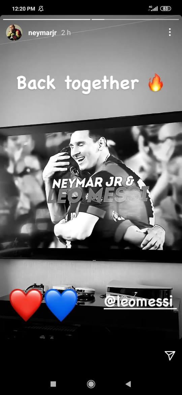 """Neymar le dio la bienvenida al PSG a Lionel Messi: """"De nuevo juntos"""""""