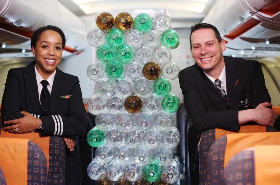 aerolínea usará botellas recicladas