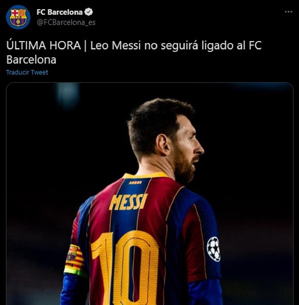 Conmoción en el deporte mundial: Messi se va del Barcelona y el club lo anunció por Twitter