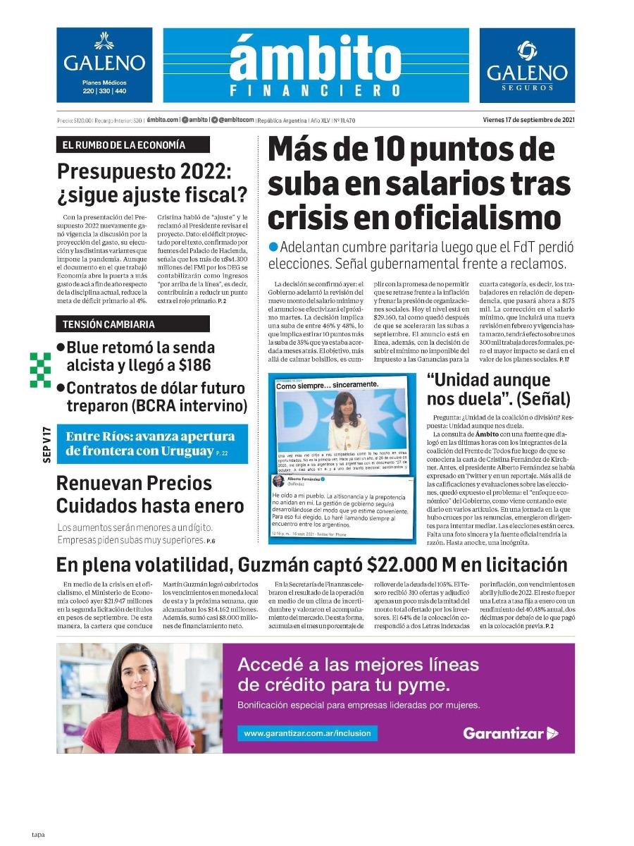 Las tapas de los diarios de hoy en Argentina | Viernes 17 de septiembre