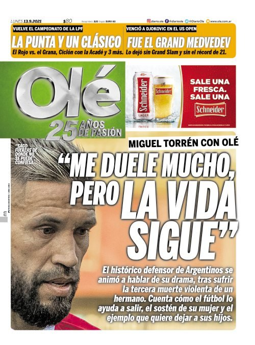 Las tapas de los diarios de hoy en Argentina | Lunes 13 de septiembre