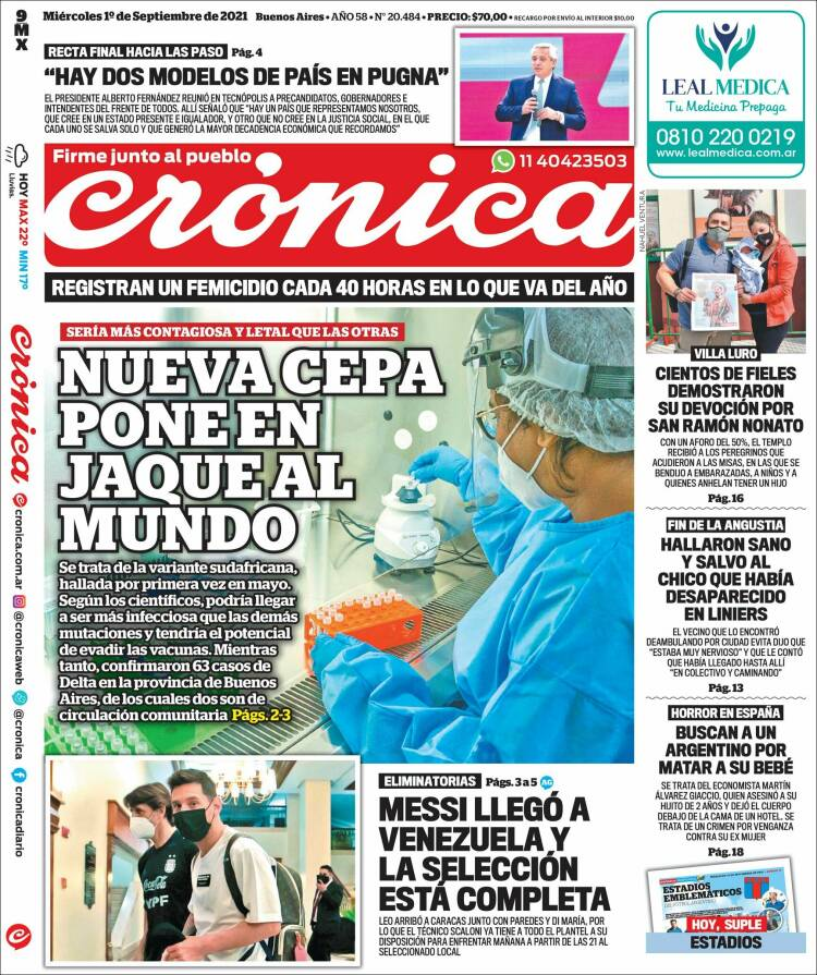Las tapas de los diarios de hoy en Argentina | Martes 14 de septiembre