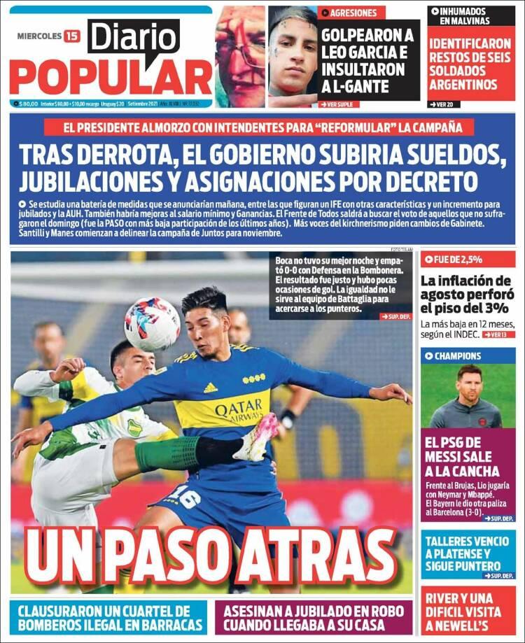 Las tapas de los diarios de hoy en Argentina   Miércoles 15 de septiembre