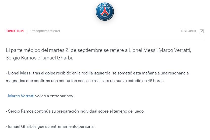 Ligue 1 | Lionel Messi está lesionado y se pierde el próximo partido