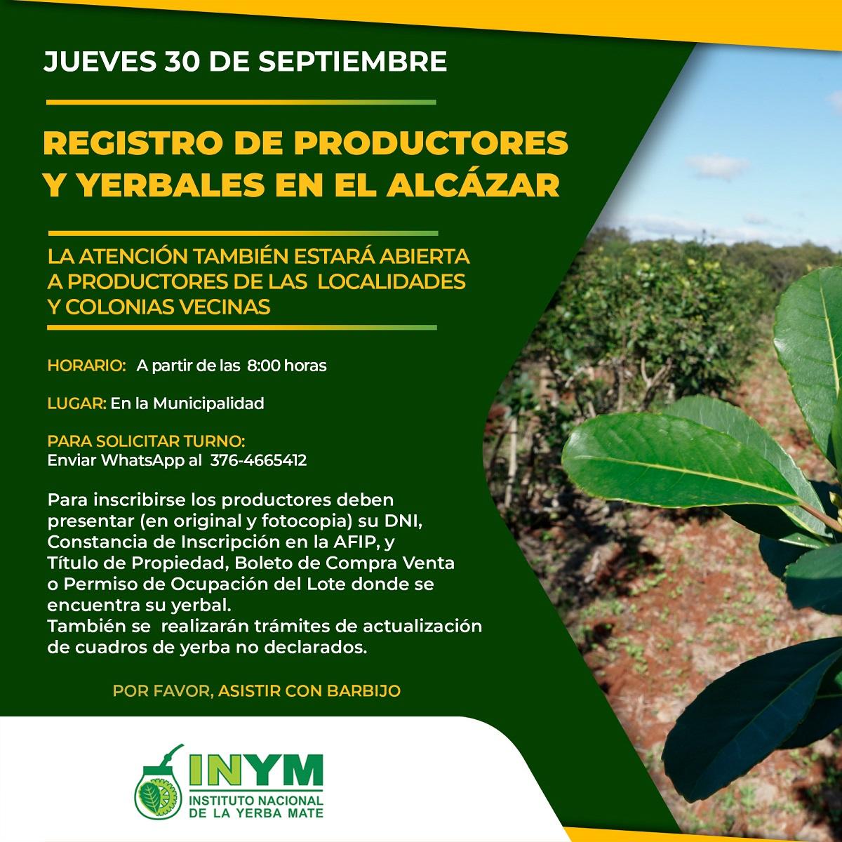 Registro de Productores y Yerbales en septiembre: el INYM dio a conocer el cronograma de su Oficina Móvil