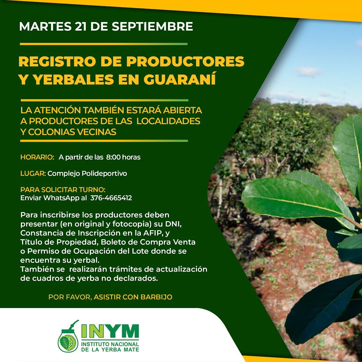 registro de productores y yerbales