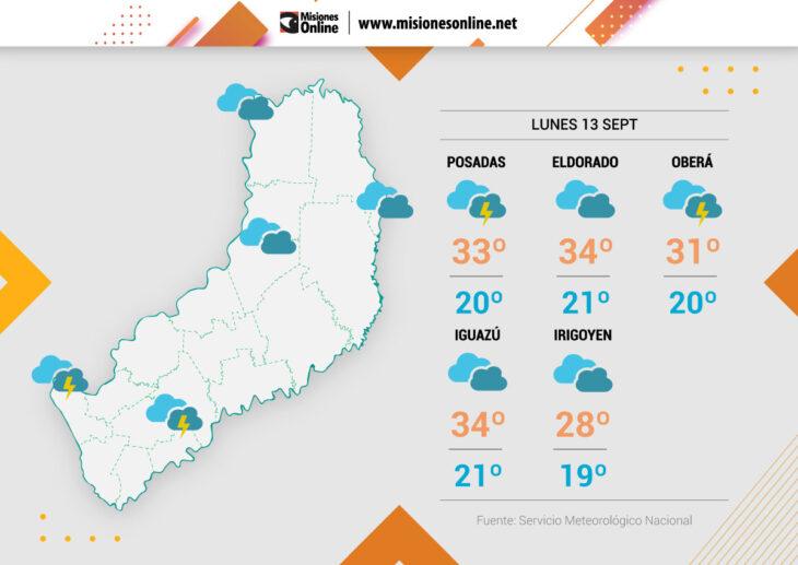 El tiempo en Misiones   Lunes inestable con lluvias, tormentas y temperatura máxima prevista de 36°C