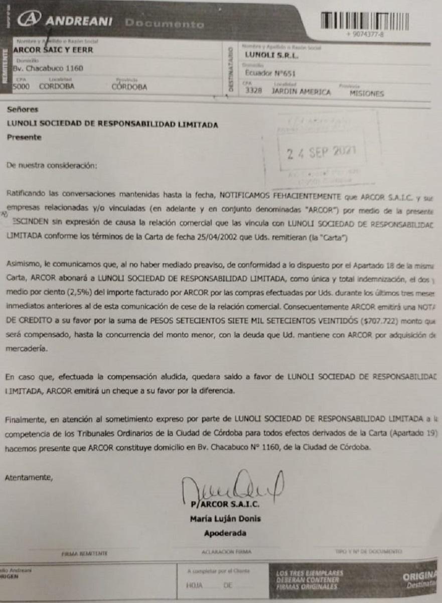 Arcor rescindió el contrato de su distribuidor