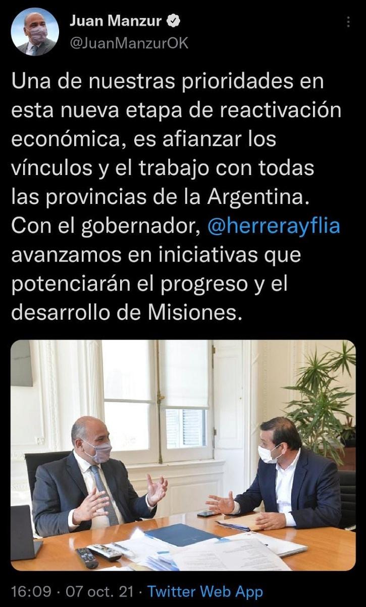 """Manzur recibió al gobernador Herrera Ahuad: """"Avanzamos en iniciativas que potenciarán el progreso y el desarrollo de Misiones"""""""